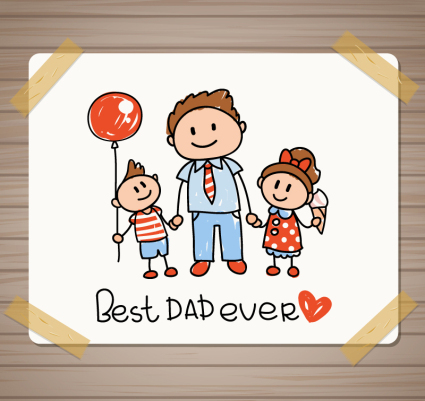 Father's Day greeting cards vector material hand-painted