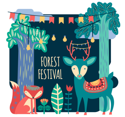 Cartoon forest festival illustration vector material