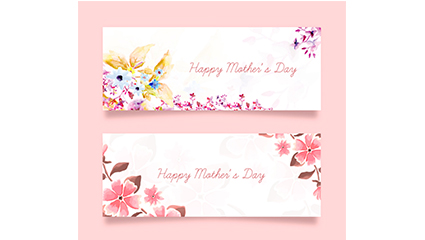 2 Mother Saving color flower banner vector