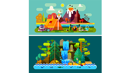 2 camping landscape vector material