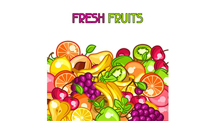 Delicious fresh fruits vector material
