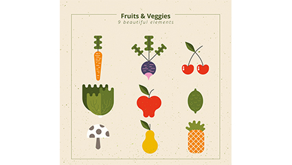 9 abstract design Vector fruits and vegetables