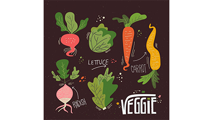 6 colored vegetables design vector