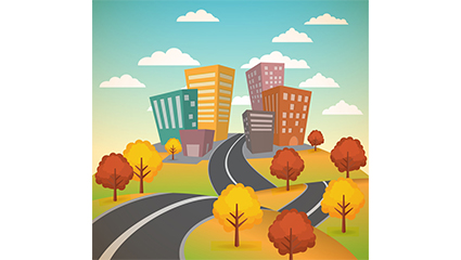Building scenery vector material side of the road