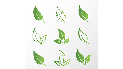 9 creative design green leaves vector material