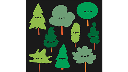 9 cartoon faces trees design vector material
