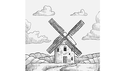 Hand drawn vector material Windmill