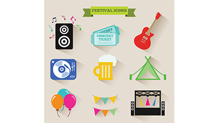 9 exquisite icon vector material Music Festival