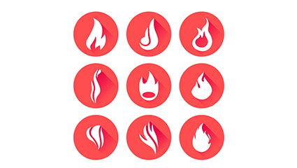 9 circular flame icon vector material