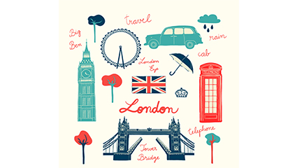 Paragraph 10 London travel element vector material