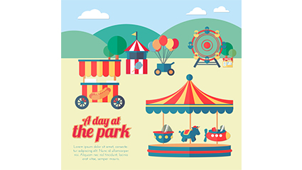 Creative amusement park illustrator vector material