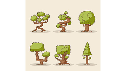 6 cartoon trees vector design