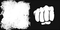 Fists and material ink border vector