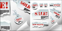 Torn sales tag vector material