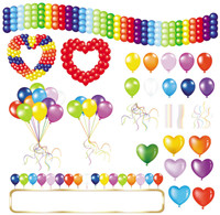 Beautifully colored balloons 05-- vector material