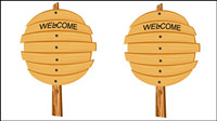 Cartoon wood sign 05 - vector