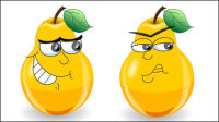 The cute cartoon pears expression - vector material