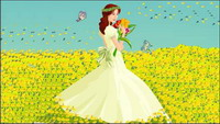 The bride, Butterfly Vector material