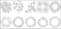 Flower type of line drawing vector diagram-6