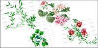 Fashion flowers and leaves psd layered material