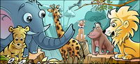 Forest cartoon animals psd layered material